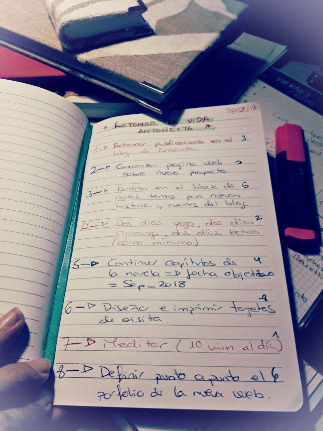 Libreta llena de anotaciones en forma de lista, numerada a la izquierda y derecha por distintos números